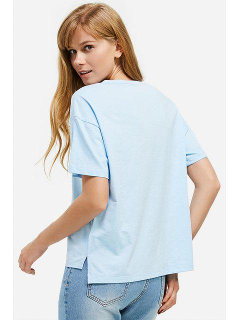 unique ZAN.STYLE Box Cut Side Slit T-shirt - LIGHT BLUE XL Mobile