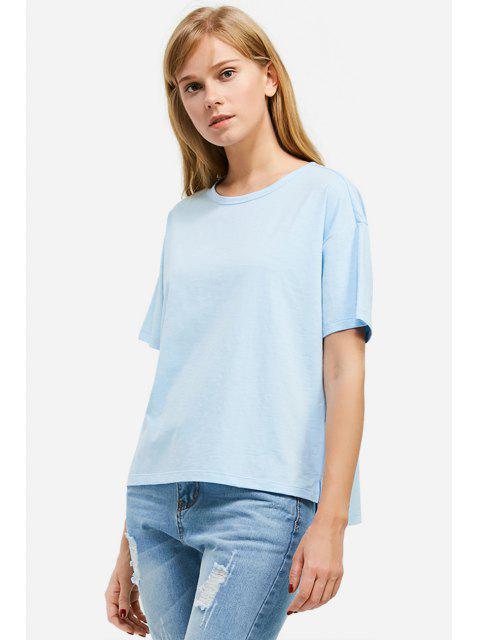 fancy ZAN.STYLE Box Cut Side Slit T-shirt - LIGHT BLUE 2XL Mobile