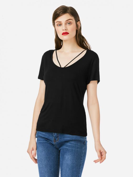 best ZAN.STYLE Strappy Front T-shirt - BLACK L