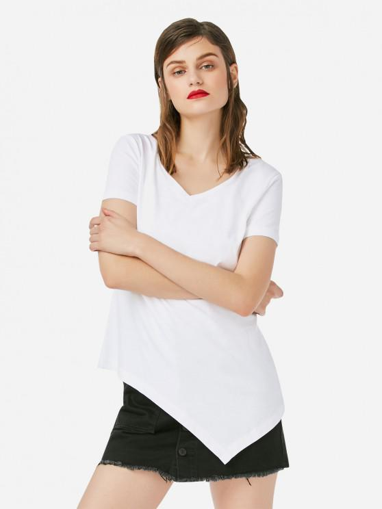 T-Shirt Asimmetrica Lunga Stampata - Bianca XL