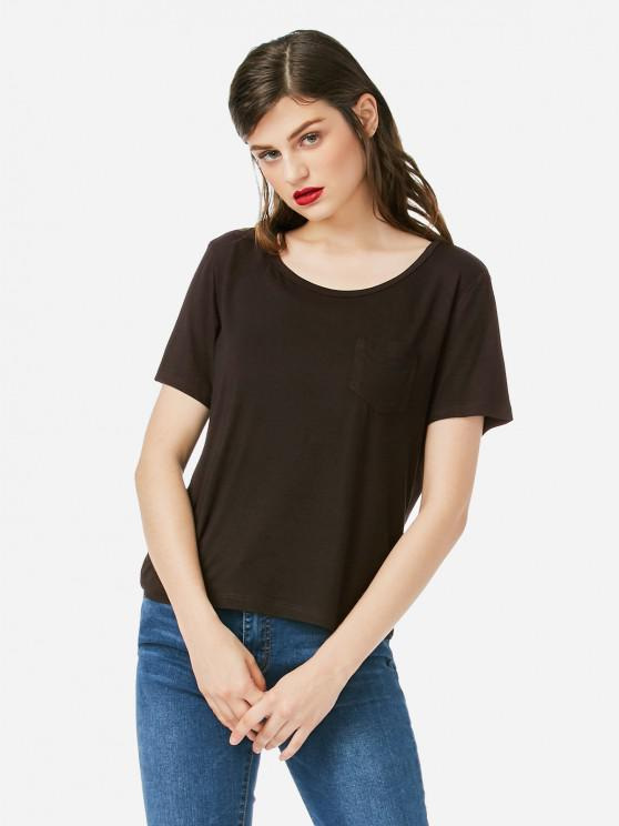 hot ZAN.STYLE Pocket T-shirt - COFFEE S