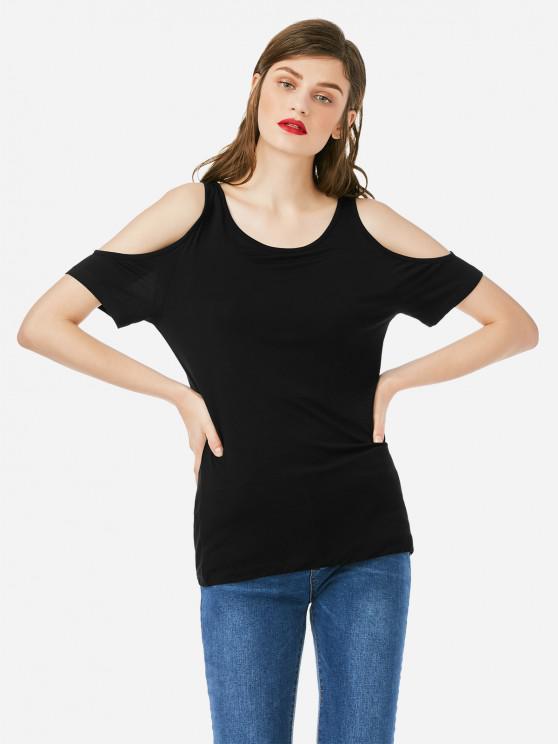 shops ZAN.STYLE Cold Shoulder T-shirt - BLACK M