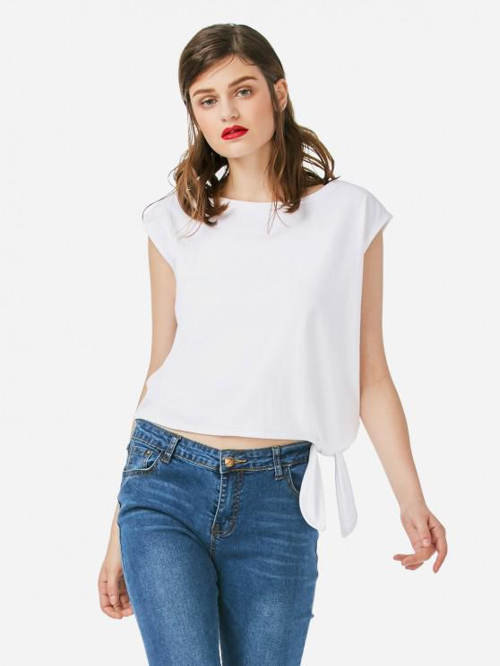 trendy ZAN.STYLE Sleeveless Side Knotted Top - WHITE L