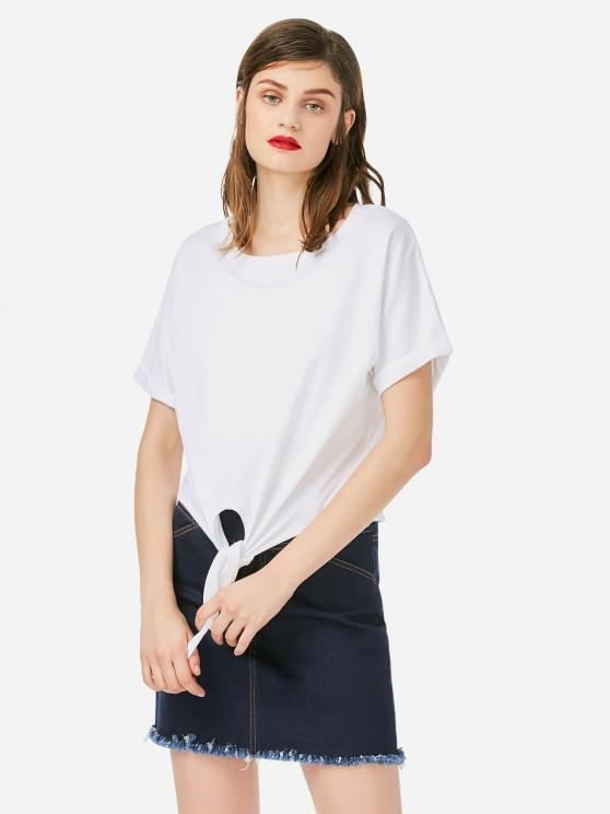fancy ZAN.STYLE Crew Neck Knotted T-shirt - WHITE M