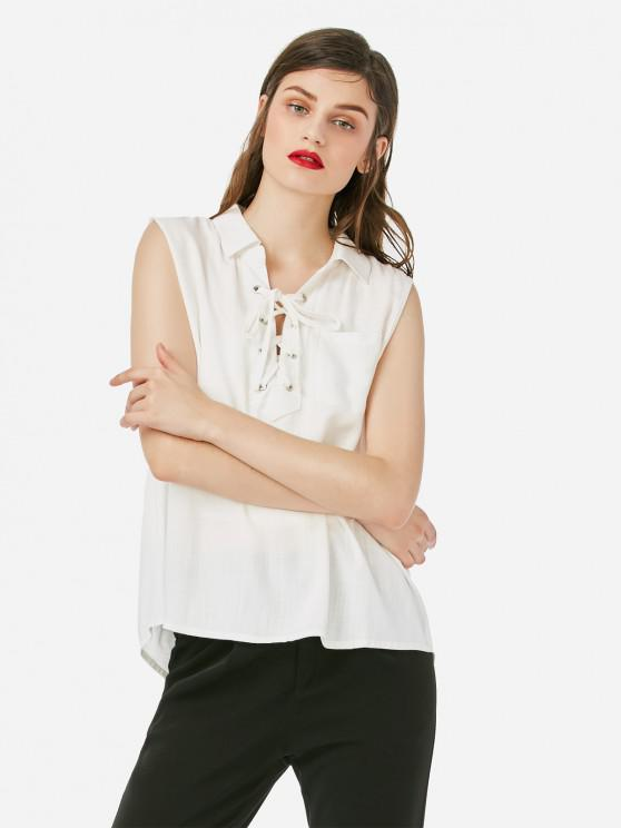 latest ZAN.STYLE Criss-cross Sleeveless Blouse - WHITE L