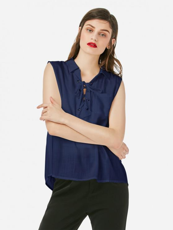 ladies ZAN.STYLE Criss-cross Sleeveless Blouse - PURPLISH BLUE XL