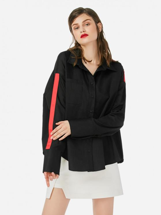 best ZAN.STYLE Collar Top Blouse - BLACK ONE SIZE