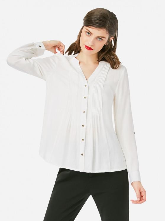 ZAN.STYLE Pleated Front Blouse - أبيض M