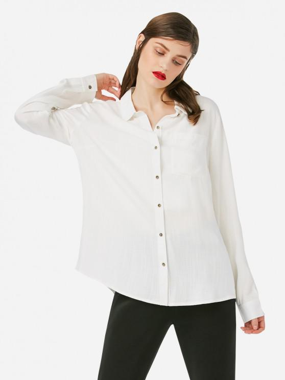 trendy ZAN.STYLE Stand Up Collar Blouse - WHITE L