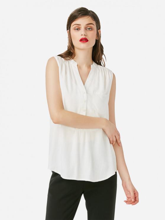 trendy ZAN.STYLE Sleeveless V-neck Tank Top - WHITE L