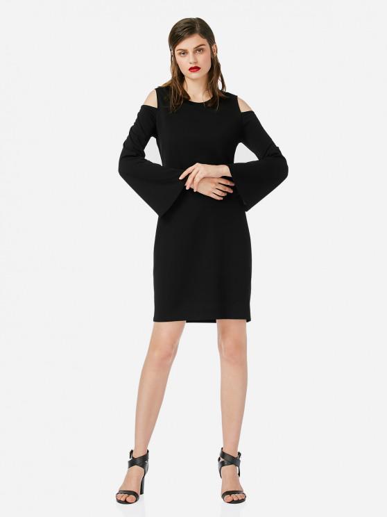 ZAN.STYLE öffnen Schulter-dünnes Kleid - Schwarz M