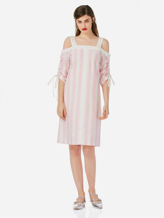 fashion ZAN.STYLE Open Shoulder Dress - PINK AND WHITE L