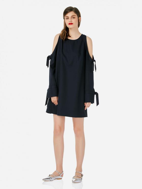 ZAN.STYLE Tie Sleeve Cold Shoulder Dress - البحريه الزرقاء L