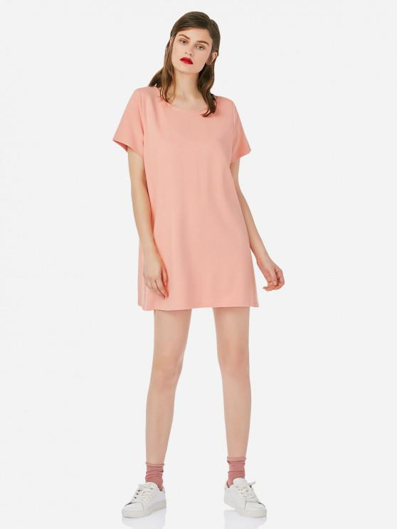 lady ZAN.STYLE Crew Neck Shirt Dress - PINK S