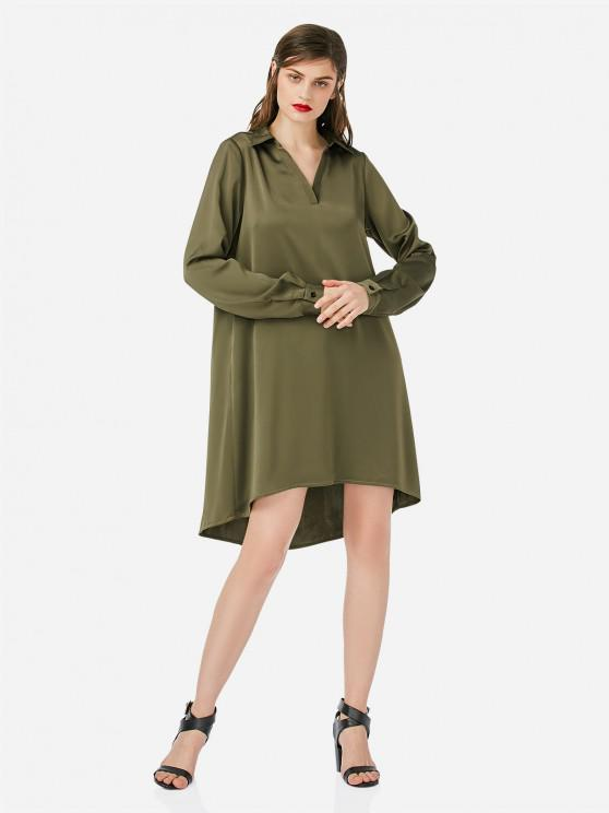 affordable ZAN.STYLE Loose Shirt Dress - ARMY GREEN S