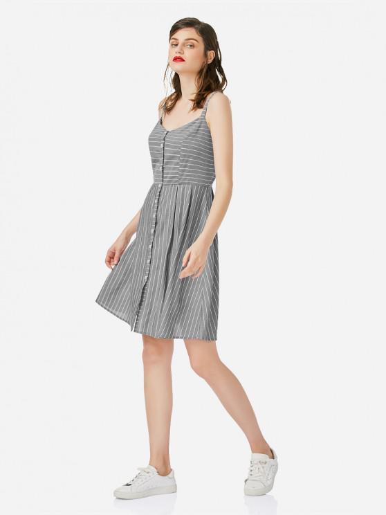 chic ZAN.STYLE Stripe A-line Dress - GRAY M