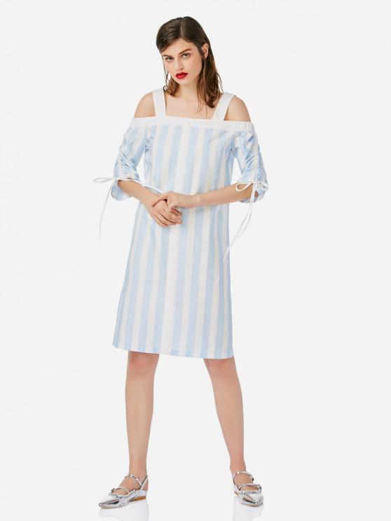 ZANSTYLE Robe Ouverte d'Épaule - Bleu et Blanc M