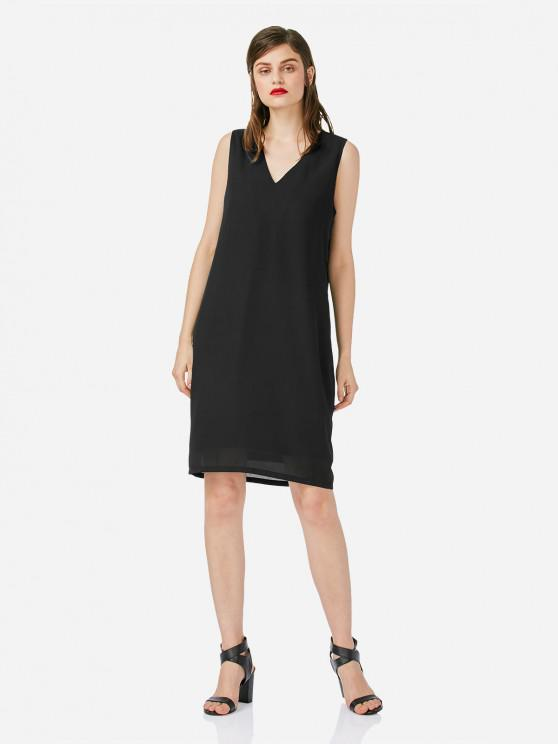 latest ZAN.STYLE V Neck Sleeveless Dress - BLACK L