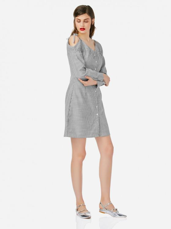 shop ZAN.STYLE Off Shoulder Shirt Dress - GRAY AND WHITE M
