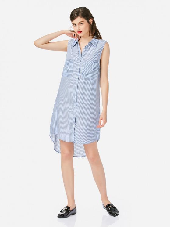 buy ZAN.STYLE Sleeveless Collar Shirt Dress - BLUE M