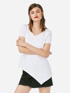 ZAN.STYLE Asymmetric Hem T-shirt - White M