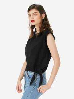 ZAN.STYLE Sleeveless Side Knotted Top - Black Xl