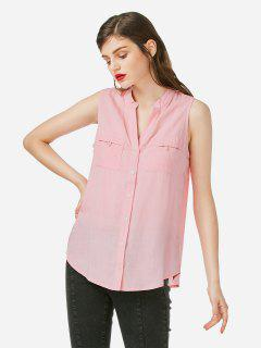ZAN.STYLE V-neck Sleeveless Blouse - Light Pink L