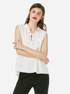 ZAN.STYLE Criss-cross Sleeveless Blouse - White M