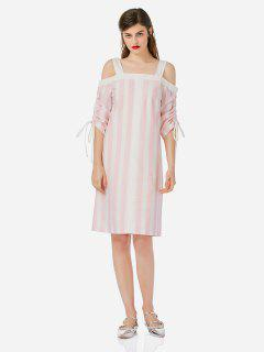 ZAN.STYLE Open Shoulder Dress - Pink And White M
