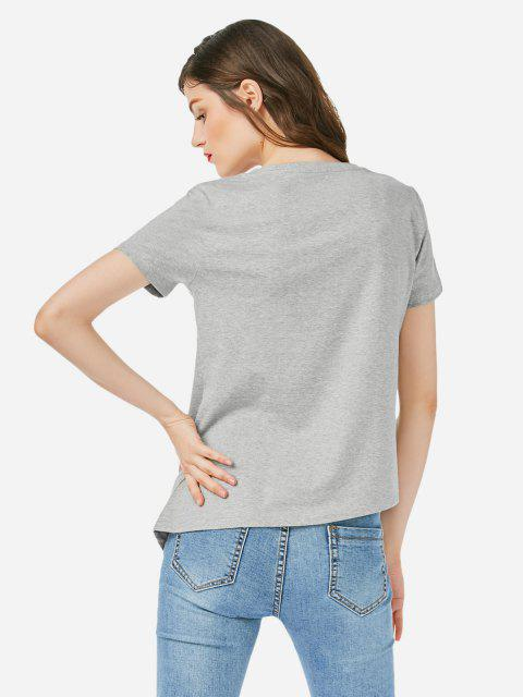 T-shirt com Bainha Assimétrica - Cinzento S Mobile