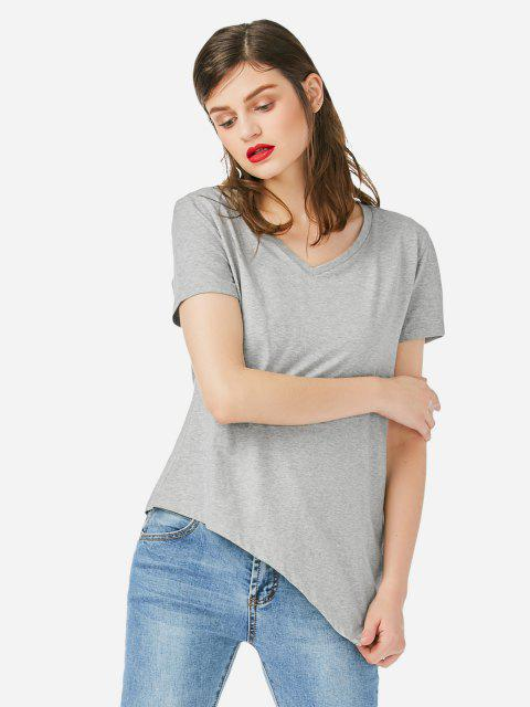 hot ZAN.STYLE Asymmetric Hem T-shirt - GRAY S Mobile
