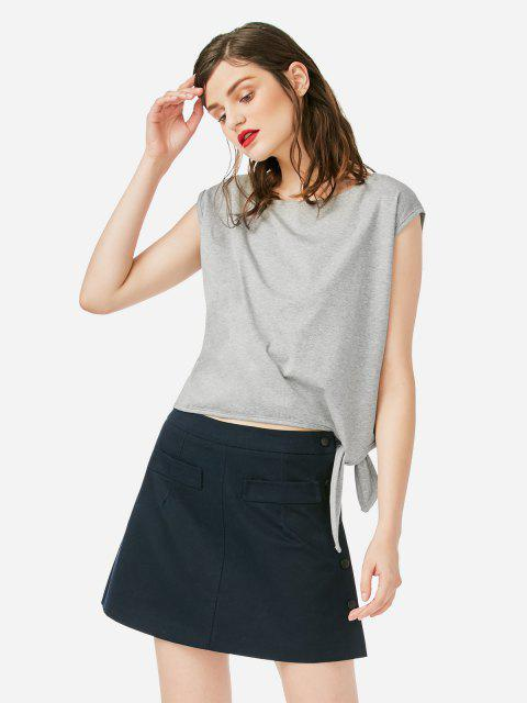 shops ZAN.STYLE Sleeveless Side Knotted Top - GRAY M Mobile