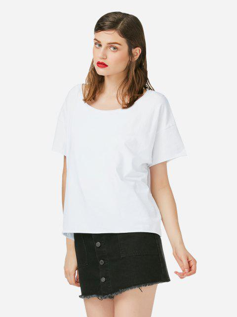 affordable ZAN.STYLE Box Cut T-shirt - WHITE XL Mobile
