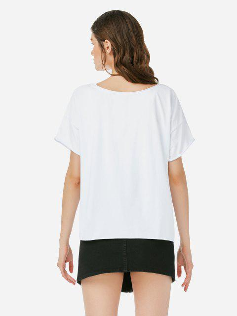 ZAN.STYLE Box Cut T-Shirt - Weiß XL Mobile