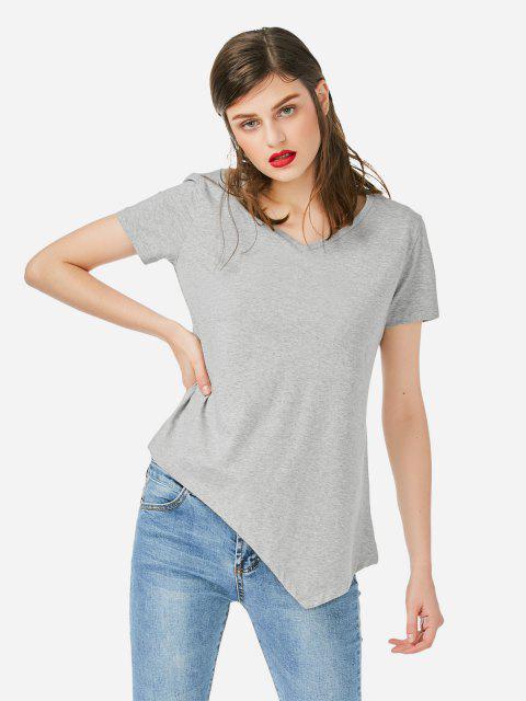 ZAN.STYLE Asymmetric Hem T-shirt - 灰色 M Mobile