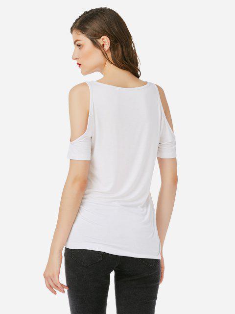 online ZAN.STYLE Cold Shoulder T-shirt - WHITE L Mobile