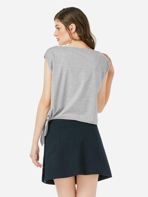ZAN.STYLE Sleeveless Side Knotted Top - 灰色 L Mobile
