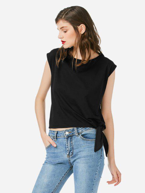 shops ZAN.STYLE Sleeveless Side Knotted Top - BLACK XL Mobile