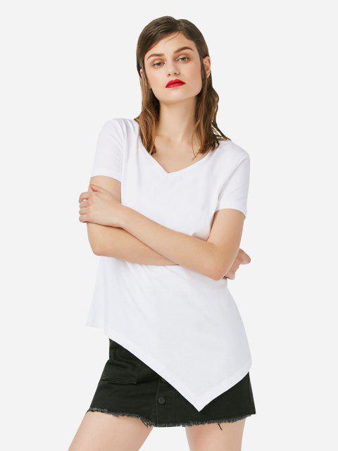 ZAN.STYLE Asymmetric Hem T-shirt - 白色 S Mobile