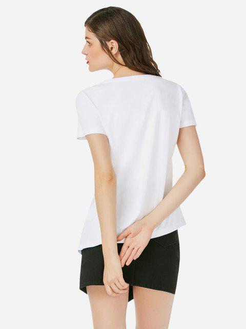T-Shirt Asimmetrica Lunga Stampata - Bianca L Mobile