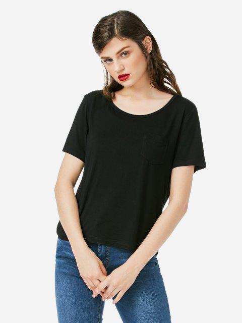 Rundhalsausschnitt Pocket T-Shirt - Schwarz S Mobile