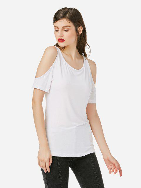 best ZAN.STYLE Cold Shoulder T-shirt - WHITE XL Mobile