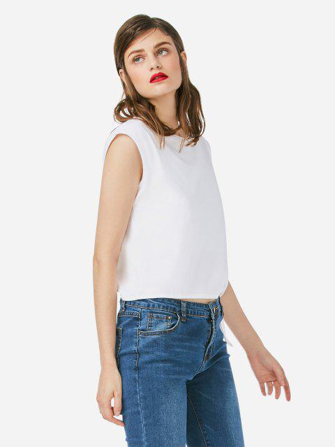 trendy ZAN.STYLE Sleeveless Side Knotted Top - WHITE L Mobile