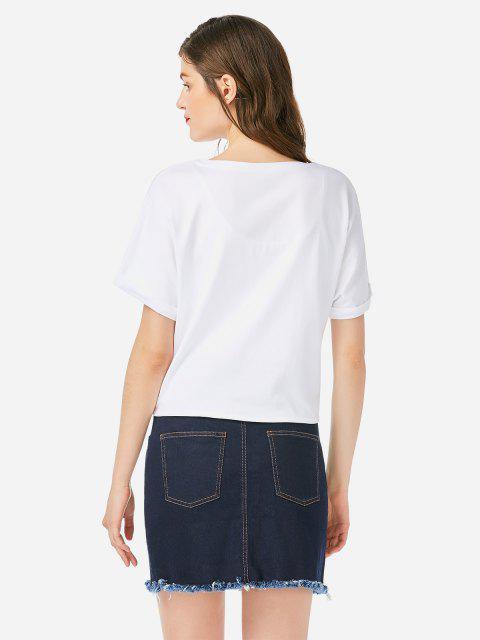 T-shirt com Gola Redonda e Nó - Branco M Mobile