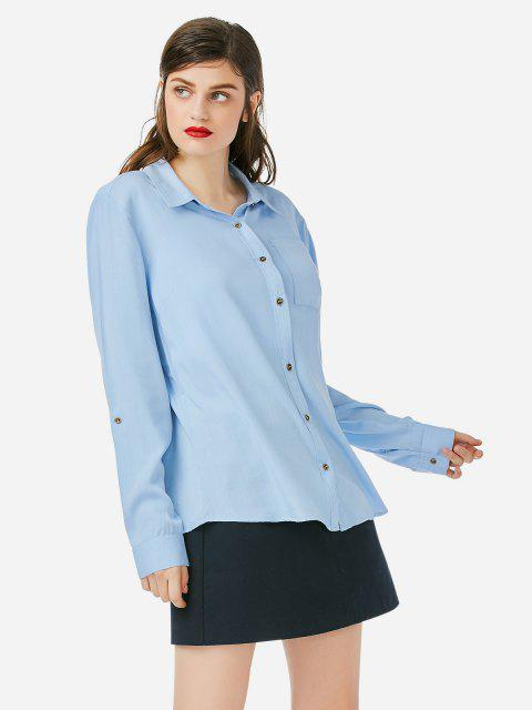 affordable ZAN.STYLE Front Pocket Blouse - BLUE M Mobile