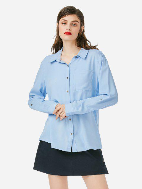 lady ZAN.STYLE Front Pocket Blouse - BLUE L Mobile