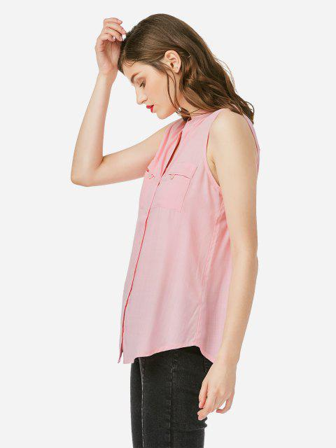 online ZAN.STYLE V-neck Sleeveless Blouse - LIGHT PINK M Mobile