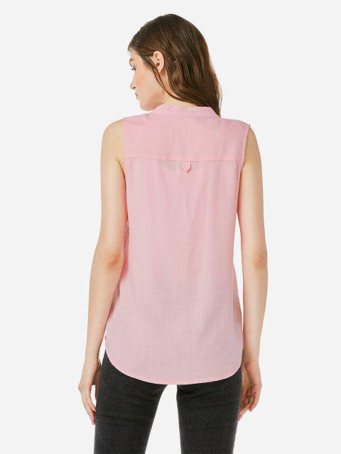 outfits ZAN.STYLE V-neck Sleeveless Blouse - LIGHT PINK XL Mobile