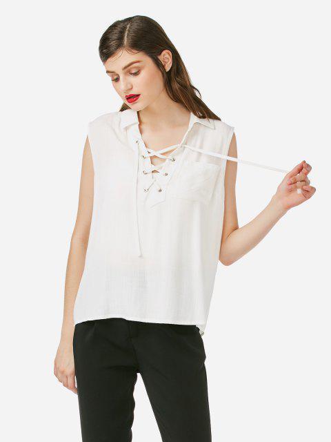 trendy ZAN.STYLE Criss-cross Sleeveless Blouse - WHITE XL Mobile