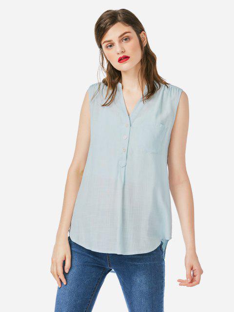 online ZAN.STYLE Sleeveless V-neck Tank Top - BLUE M Mobile